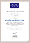 Certifikát distribútora spoločnosti Alfa Laval